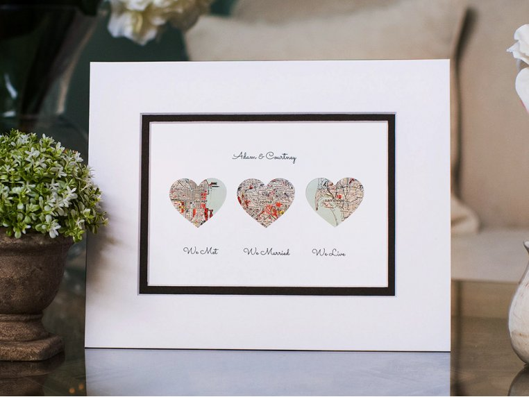 Personalized Map Love Story Art by Paper'd Moments - 1