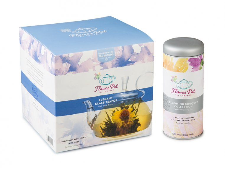 Blooming Tea Variety Tin & Teapot by Flower Pot Tea Company - 6