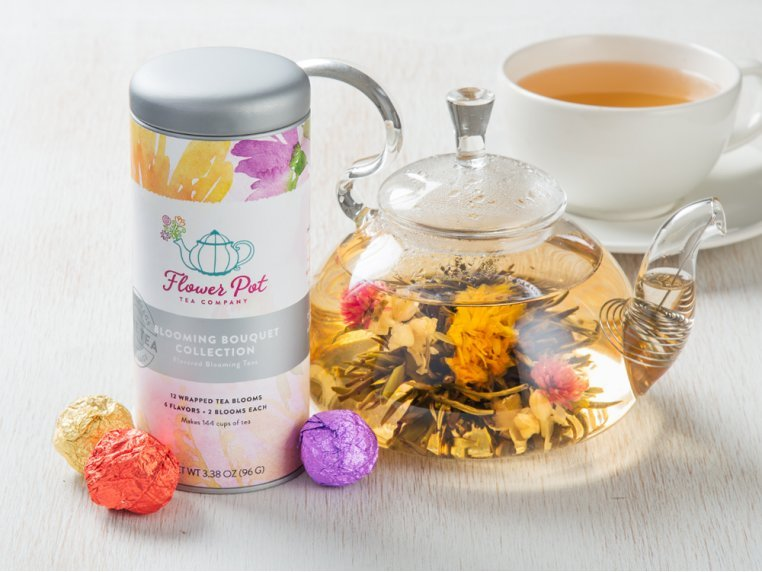 Blooming Tea Variety Tin & Teapot by Flower Pot Tea Company - 1