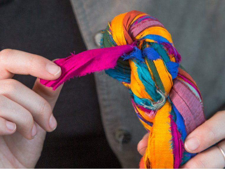 Upcycled Sari Silk Ribbon Yarn by Darn Good Yarn - 2