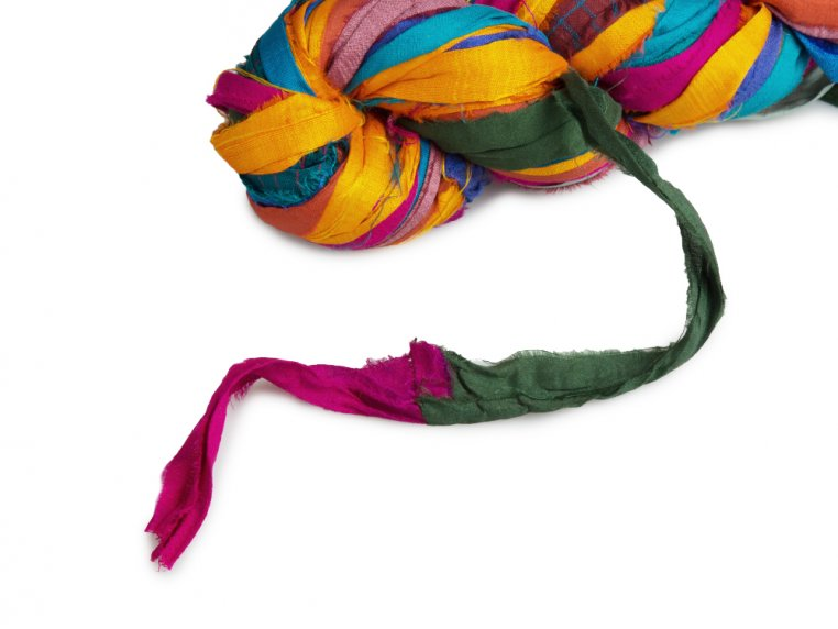 Upcycled Sari Silk Ribbon Yarn by Darn Good Yarn - 3