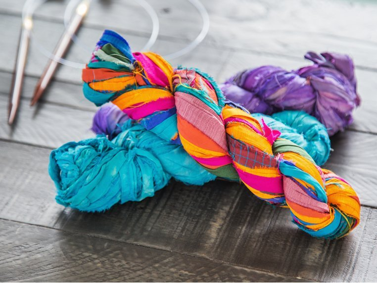 Upcycled Sari Silk Ribbon Yarn by Darn Good Yarn - 1