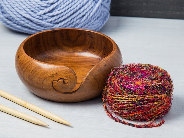 Beautiful Gift on All Occasions. Large Size 6 X 3 Durable and Portable Yarn Storage for Knitters Design 4 Mothers Day Special Wooden Yarn Bowl for Knitting and Crochet