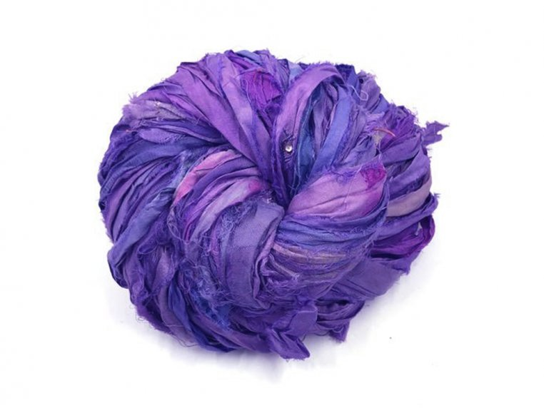 Upcycled Sari Silk Ribbon Yarn by Darn Good Yarn - 5