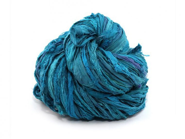 Upcycled Sari Silk Ribbon Yarn by Darn Good Yarn - 6
