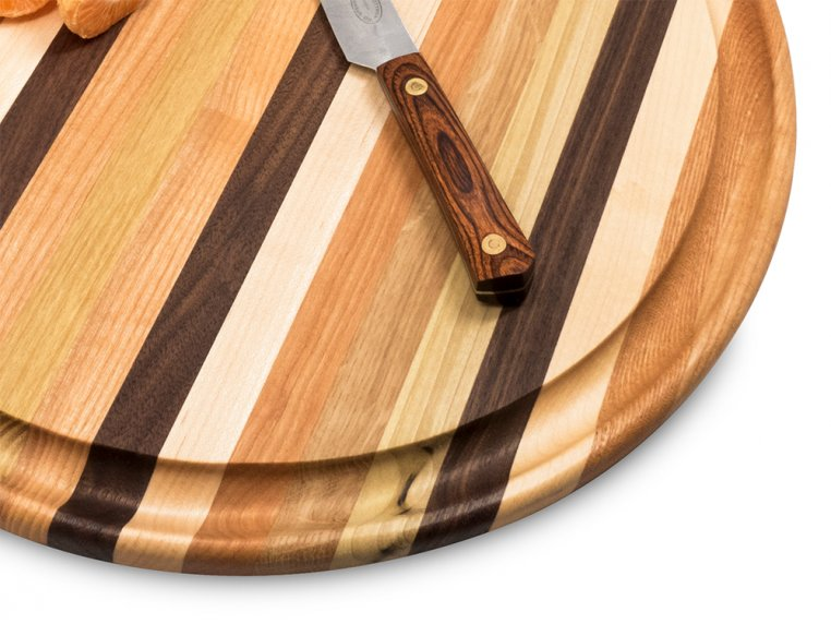 Round Handcrafted Grooved Cutting Board by Dickinson Woodworking - 2