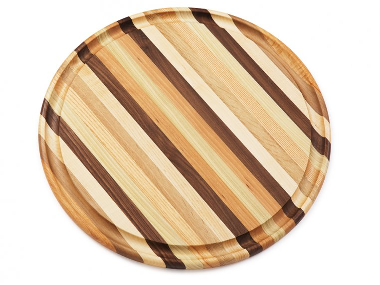 Round Handcrafted Grooved Cutting Board by Dickinson Woodworking - 3
