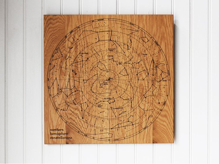 Engraved Wood Constellation Map by Citizen Woodshop - 2