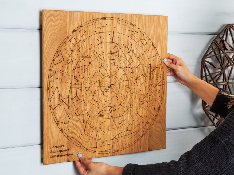 Engraved Wood Constellation Map by Citizen Woodshop - 1