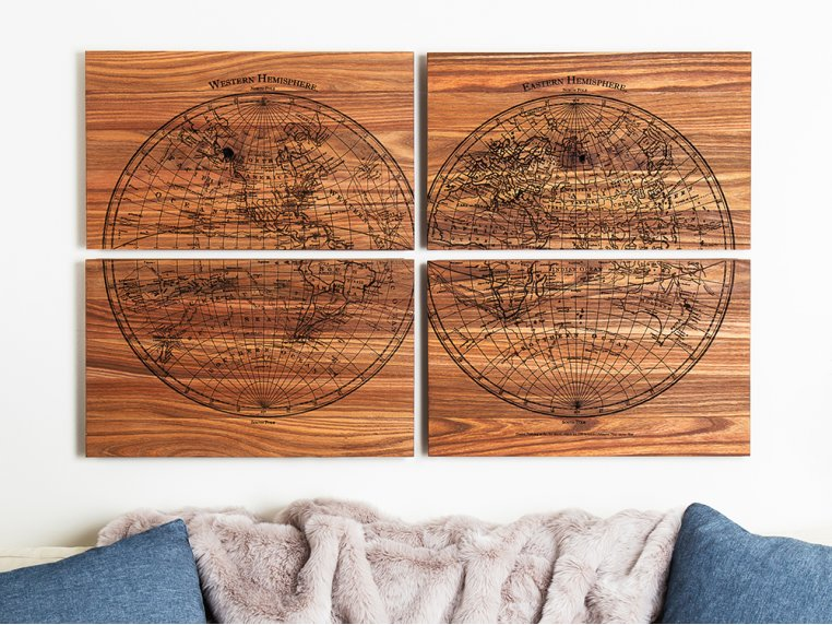 1799 4-Panel Engraved Wood World Map by Citizen Woodshop - 3