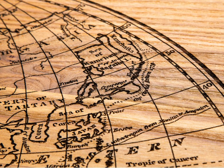1799 4-Panel Engraved Wood World Map by Citizen Woodshop - 4