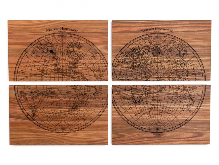 1799 4-Panel Engraved Wood World Map by Citizen Woodshop - 5