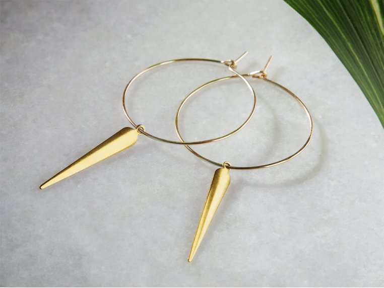 Featherweight Spike Hoop Earrings by April Soderstrom - 1