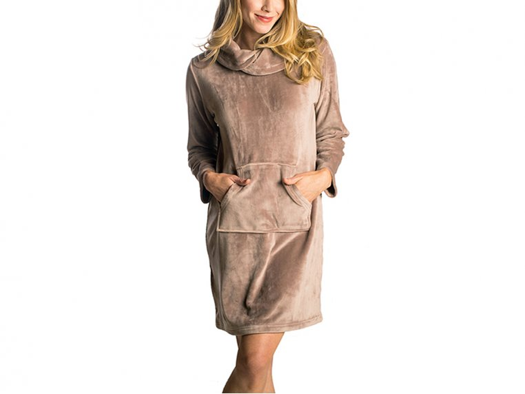Velour Lounge Dress - 2X/3X (20-24) - Taupe by Softies - 1