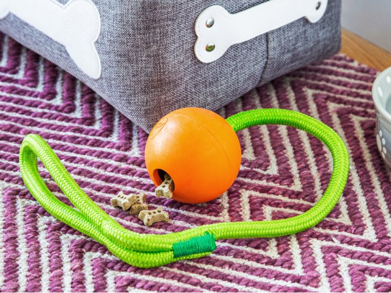 Natural Rubber Fillable Ball & Rope by 4BF - 3