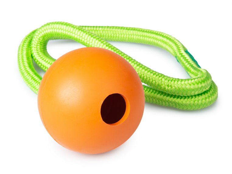 Natural Rubber Fillable Ball & Rope by 4BF - 4