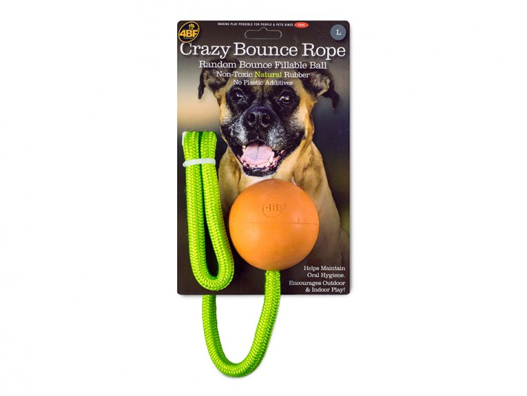 Natural Rubber Fillable Ball & Rope by 4BF - 5