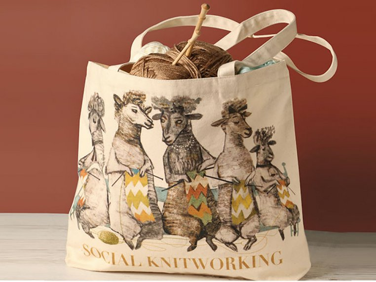Social Knitworking Canvas Tote Bag by Artiphany - 2