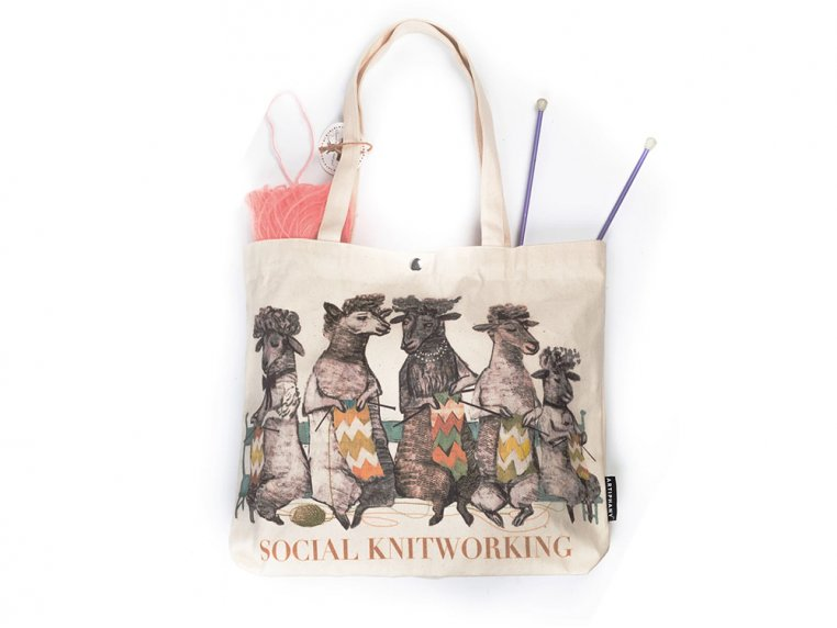 Social Knitworking Canvas Tote Bag by Artiphany - 1
