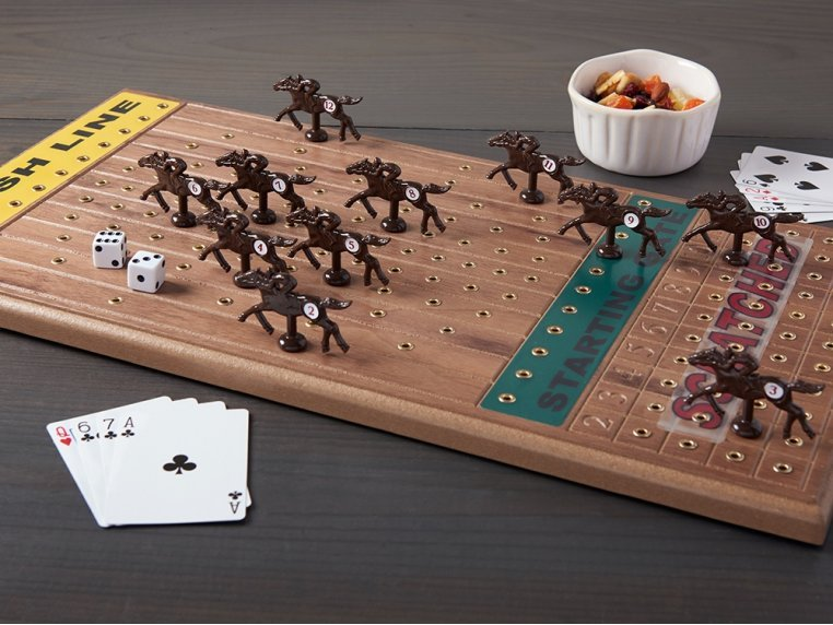 Wooden Tabletop Horseracing Game by Across The Board - 1