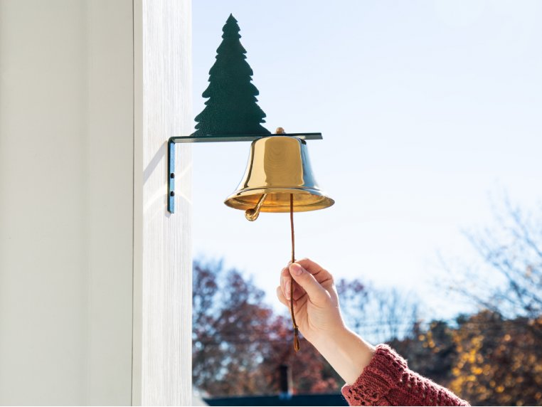 Brass Wall Bell with Silhouette by Bevin Bells - 3