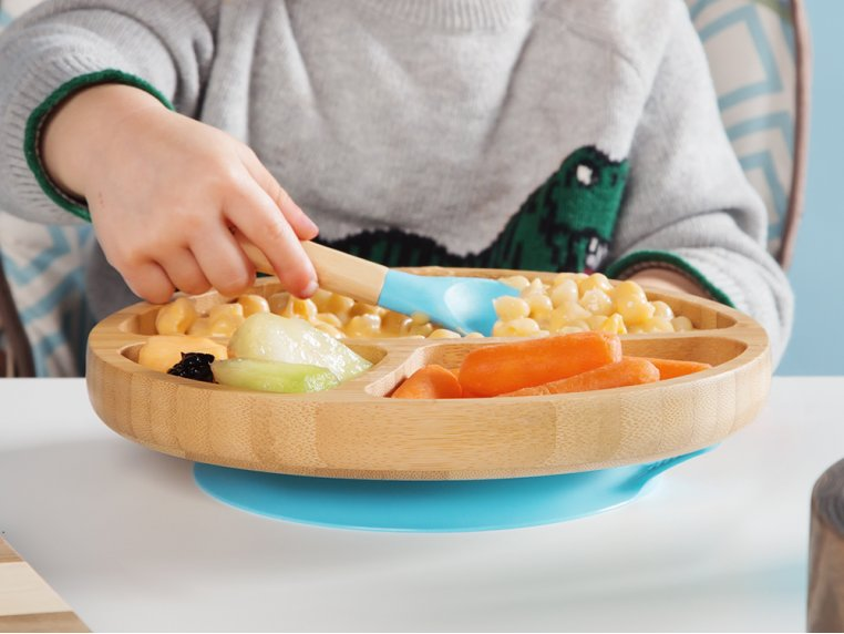 Bamboo Suction Toddler Plate & Spoon by Avanchy - 1