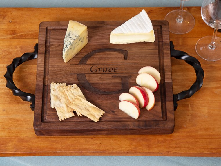 Personalized Square Serving Tray by BigWood Boards - 1