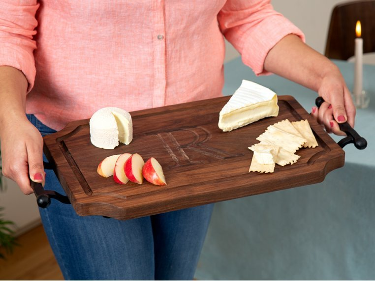 Personalized Scalloped Serving Tray by BigWood Boards - 1