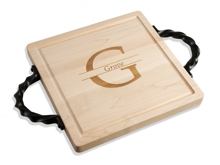 Personalized Square Serving Tray by BigWood Boards - 4
