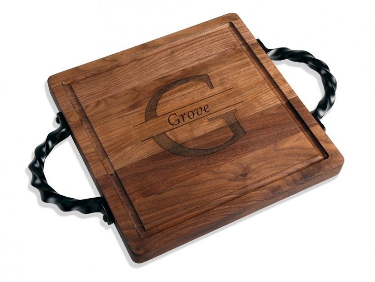 Personalized Square Serving Tray by BigWood Boards - 5