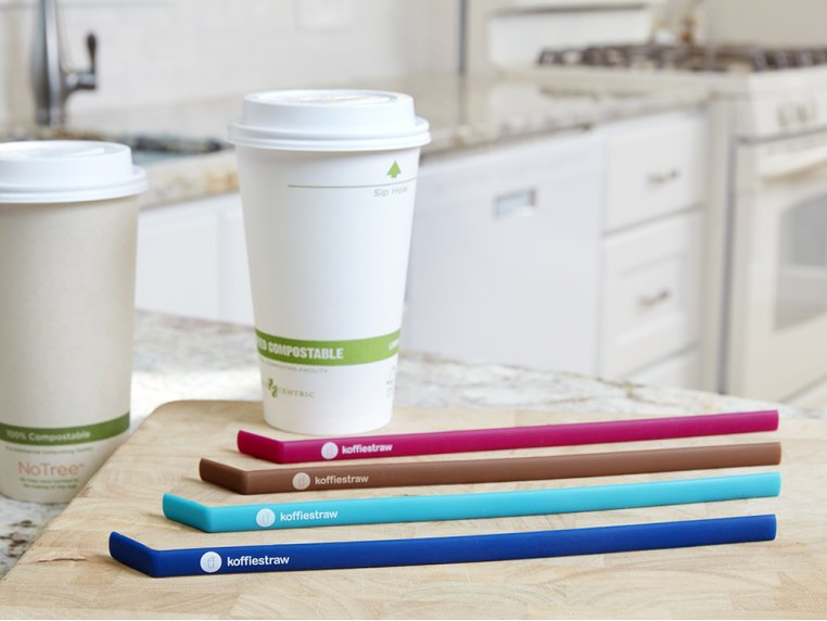 Reusable Silicone Straws 4-pack by KoffieStraw - 1