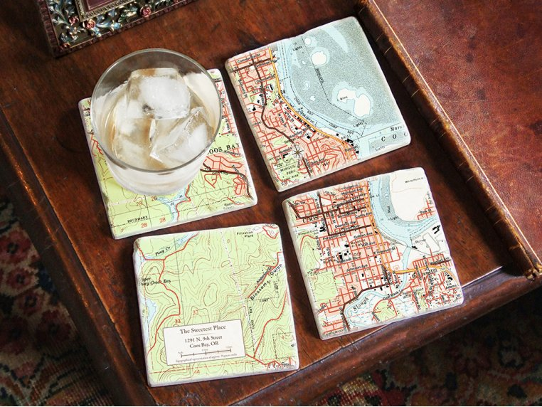 Custom Map Coasters with Stand by ScreenCraft Gifts - 3