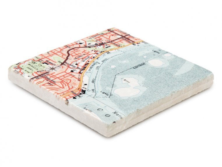 Custom Map Coasters with Stand by ScreenCraft Gifts - 4