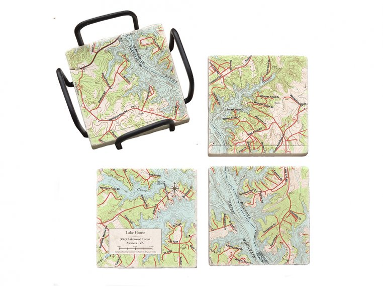 Custom Map Coasters with Stand by ScreenCraft Gifts - 6
