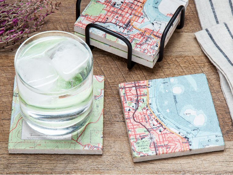 Custom Map Coasters with Stand by ScreenCraft Gifts - 1