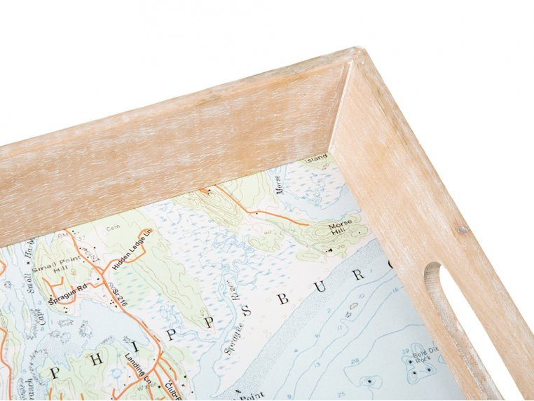 Wood-Framed Custom Map Serving Tray by ScreenCraft Gifts - 3