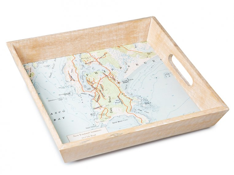 Wood-Framed Custom Map Serving Tray by ScreenCraft Gifts - 4