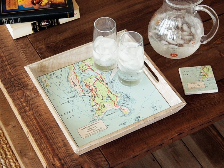 Wood-Framed Custom Map Serving Tray by ScreenCraft Gifts - 1