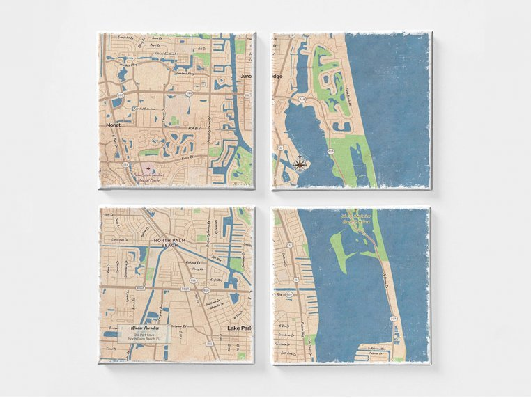Custom Map Canvas Wall Mural by ScreenCraft Gifts - 2