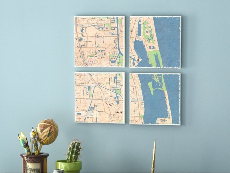 Custom Map Canvas Wall Mural by ScreenCraft Gifts - 1