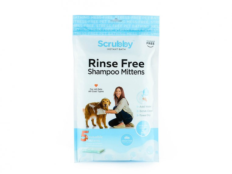 Rinse-Free Pet Bath Mittens - 5-Pack by Scrubby - 6