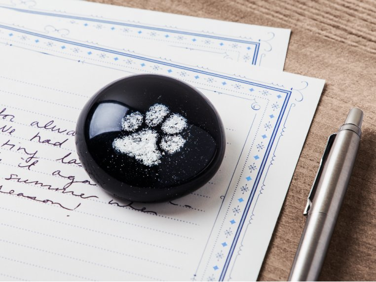 Pet Memorial Glass Round Paperweight by TZ Glass by Tari Zarka - 1