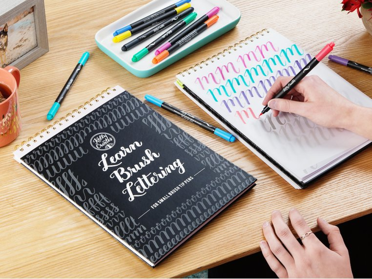Brush Lettering Calligraphy Workbook by Kelly Creates - 1