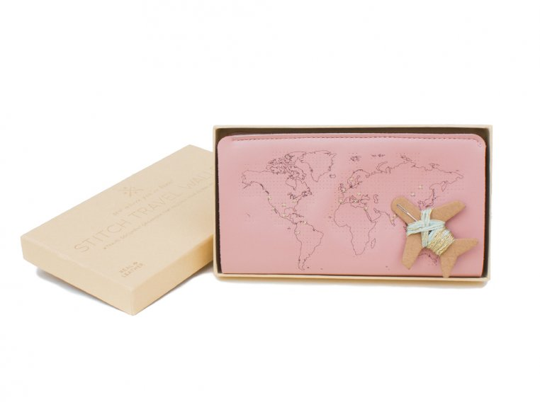 Stitch-Your-Travels Leather Wallet - Pink by Chasing Threads - 3