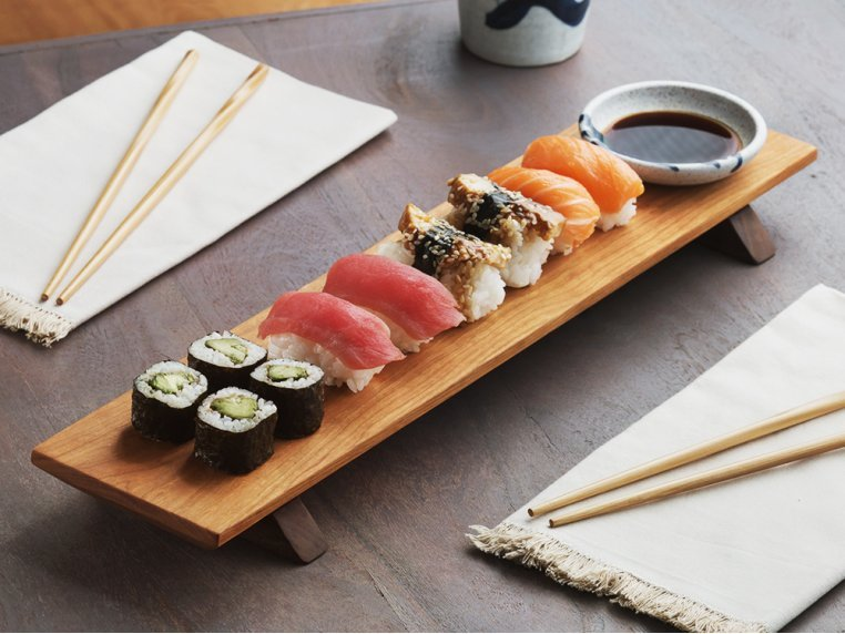 Sushi Serving Board & Soy Sauce Bowl by Sabbath-Day Woods - 1