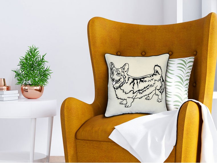 Dog Embroidered Throw Pillow by Beyond Cushions - 1