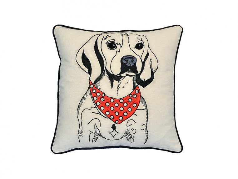 Dog Embroidered Throw Pillow by Beyond Cushions - 3