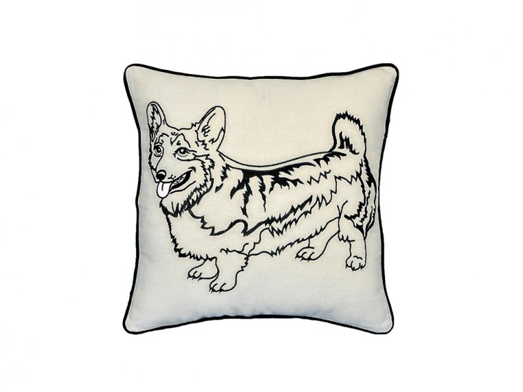 Dog Embroidered Throw Pillow by Beyond Cushions - 4