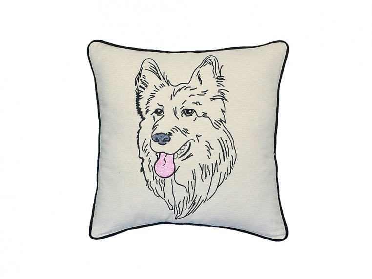Dog Embroidered Throw Pillow by Beyond Cushions - 6