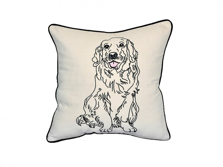 Dog Embroidered Throw Pillow by Beyond Cushions - 8